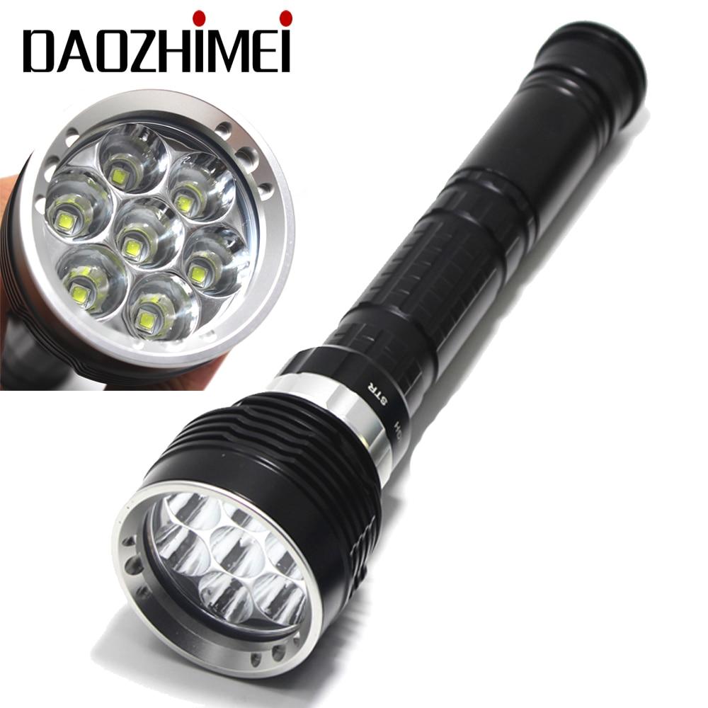 Novedad, linterna submarinismo para buceo de 8000 lúmenes bajo el agua de 200M, linterna LED de 7 x XM-L2, luz para 3x18650 o 26650 baterías
