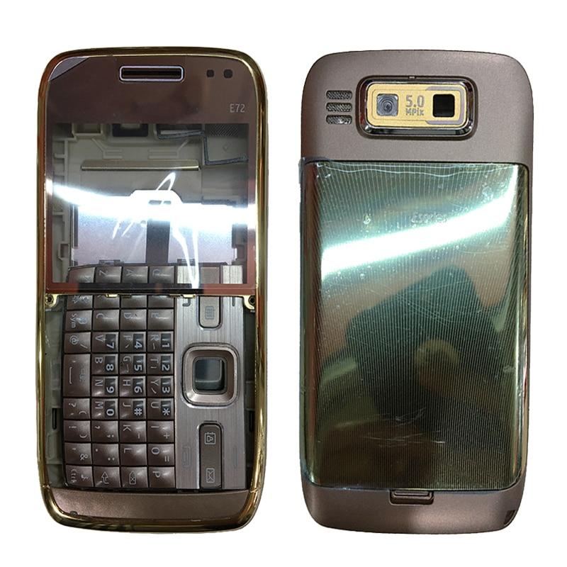 Nova caixa completa de plástico do telefone móvel para nokia e63 habitação completa capa traseira + quadro médio moldura dianteira com teclado