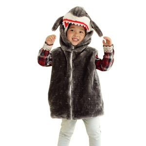 Animal Vest Unisex Children's Cartoon Grey Shark Vest Costume Autumn Winter Hooded Kids Girls Boys Cosplay Plush Outwear Coat