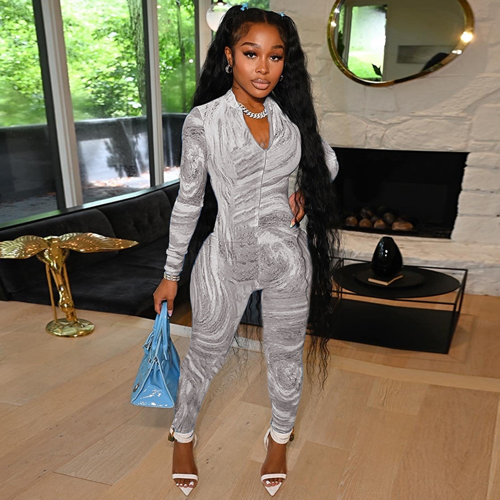 Bulk Items Wholesale Lots Stretchy Deep V-neck Sport Wear Casual Jumpsuit Print Long Sleeve Skinny Sexy Overall Fitness Outfit enlarge