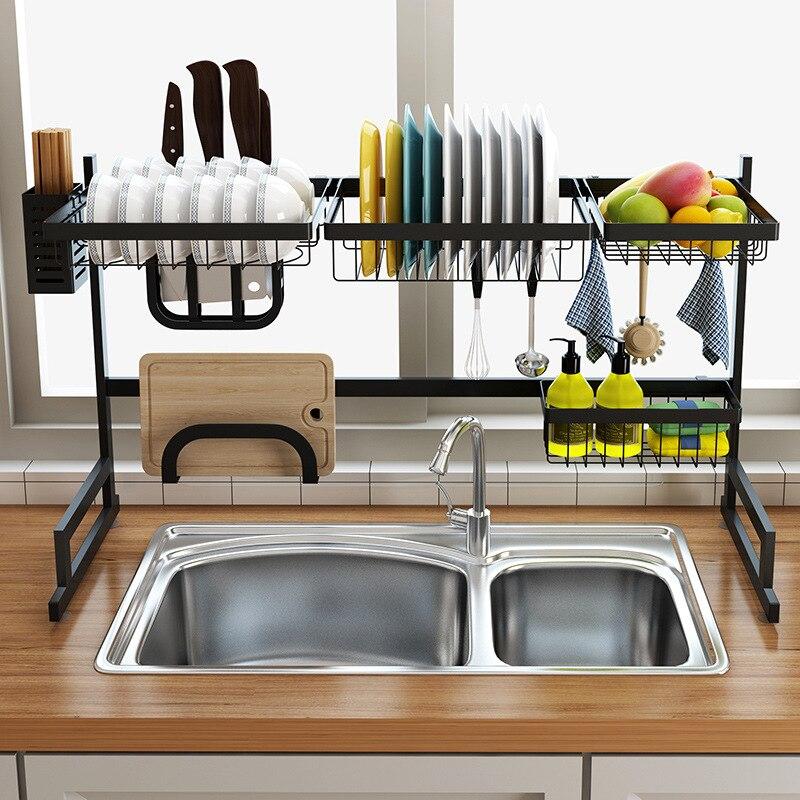 85/65cm negro cocina Rack en forma de U de acero inoxidable rejilla para escurrir para fregadero dos capas organizador de la cocina del estante de almacenamiento de titular