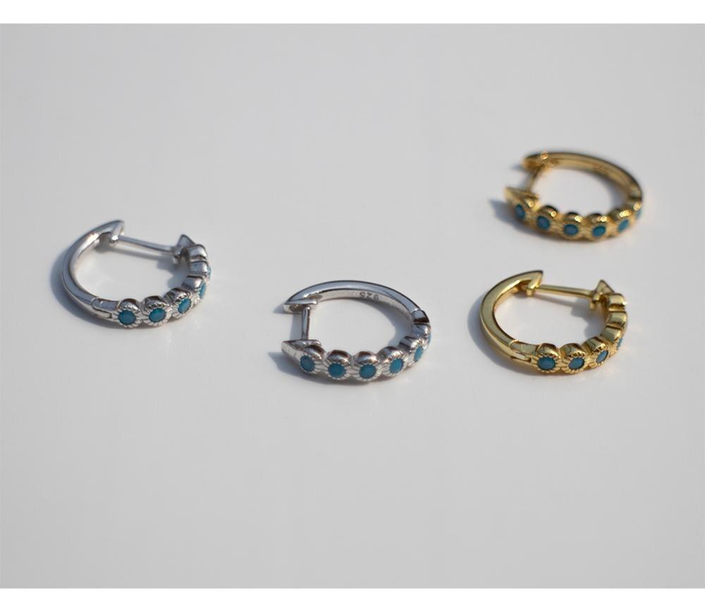 925 sterling silver earring fashion white blue zircon round ear ring ear bone ear buckle wild simple trend boy girl ear jewelry