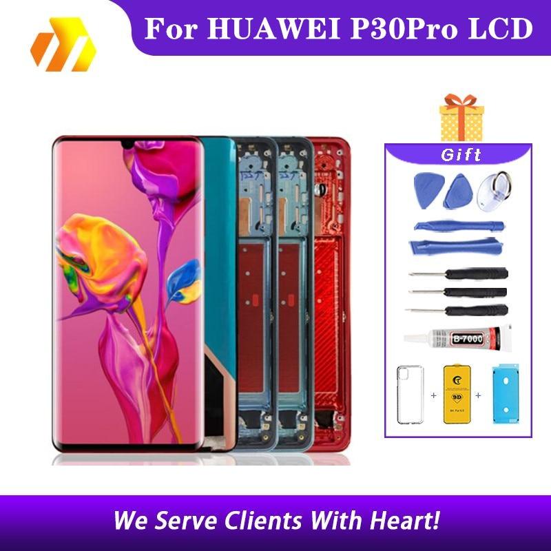 Lcd لهواوي P30 برو LCD شاشة تعمل باللمس الجمعية لهواوي P30Pro VOG-L29 L09 AL00 TL00 L04 AL10 HW-02L 6.47 أوري