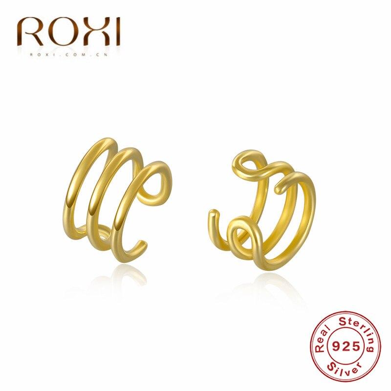 ROXI 925 Sterling trepadores de plata de la oreja envolver los pendientes sin Clip de perforación en los pendientes para las mujeres chica Clip Earcuff falso cartílago pendientes