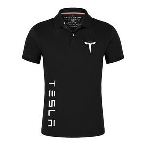 Summer Tesla Car Logo Polo Shirts Men Short Sleeve T Shirts Classic Brand Tees Male Cotton Casual Customize Sport Streetwear Top