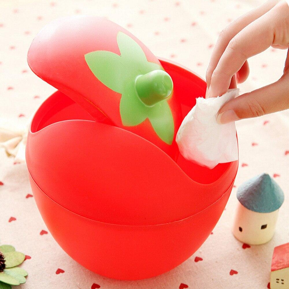 Linda mini Papelera con forma de fresa Papelera para escritorio con tapa desmontable caja de almacenamiento de Basura Cubo Basura Reciclaje