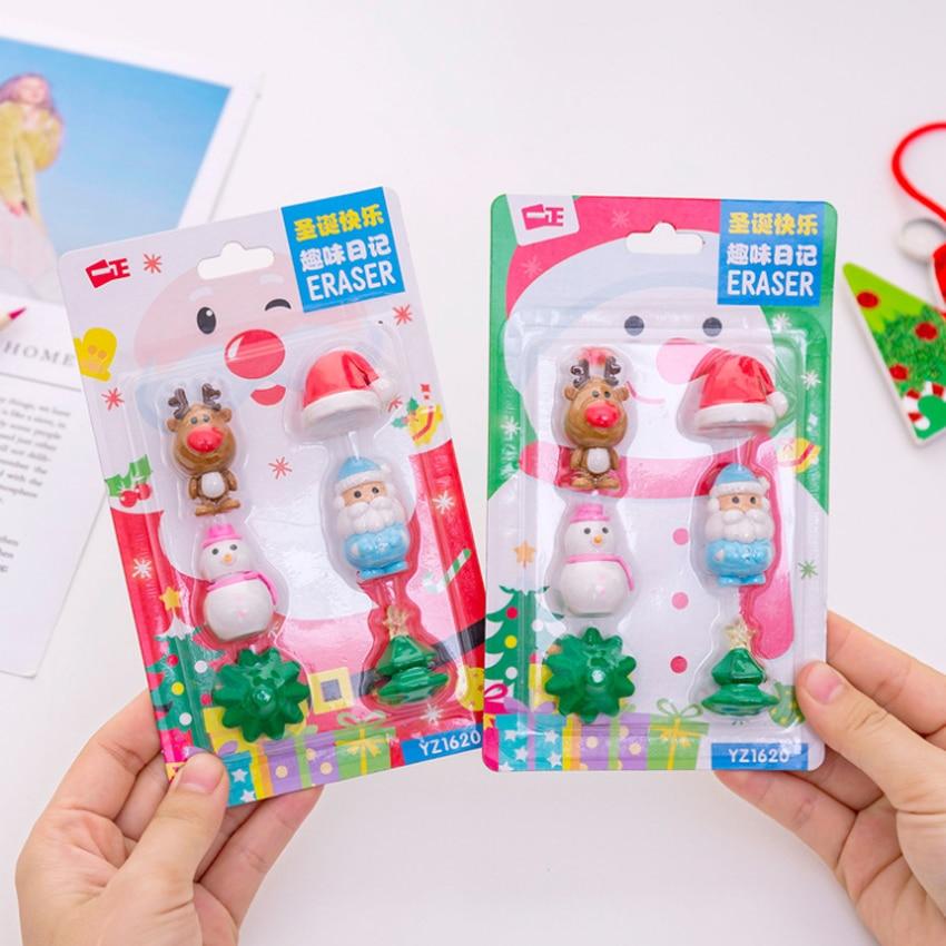 6 pçs/lote bonito natal série santa boneco de neve elk borracha lápis borrachas prêmios escola presentes do miúdo