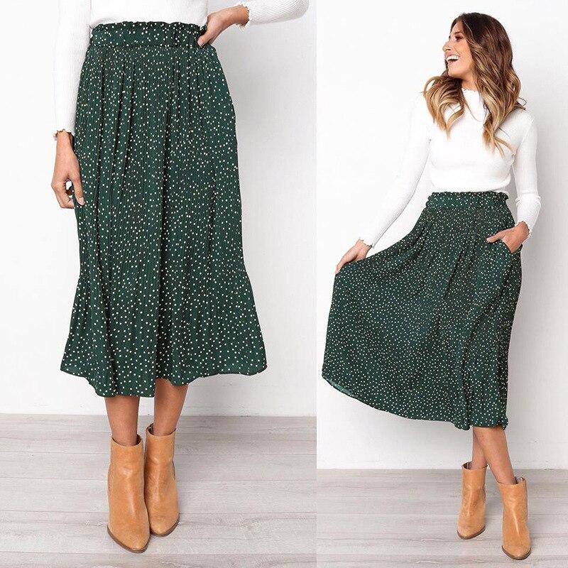 LOSSKY Polka Dot Floral Print Pleated Midi Skirt Women Elastic High Waist Side Pockets Skirts Summer 2019 Elegant Female Bottom