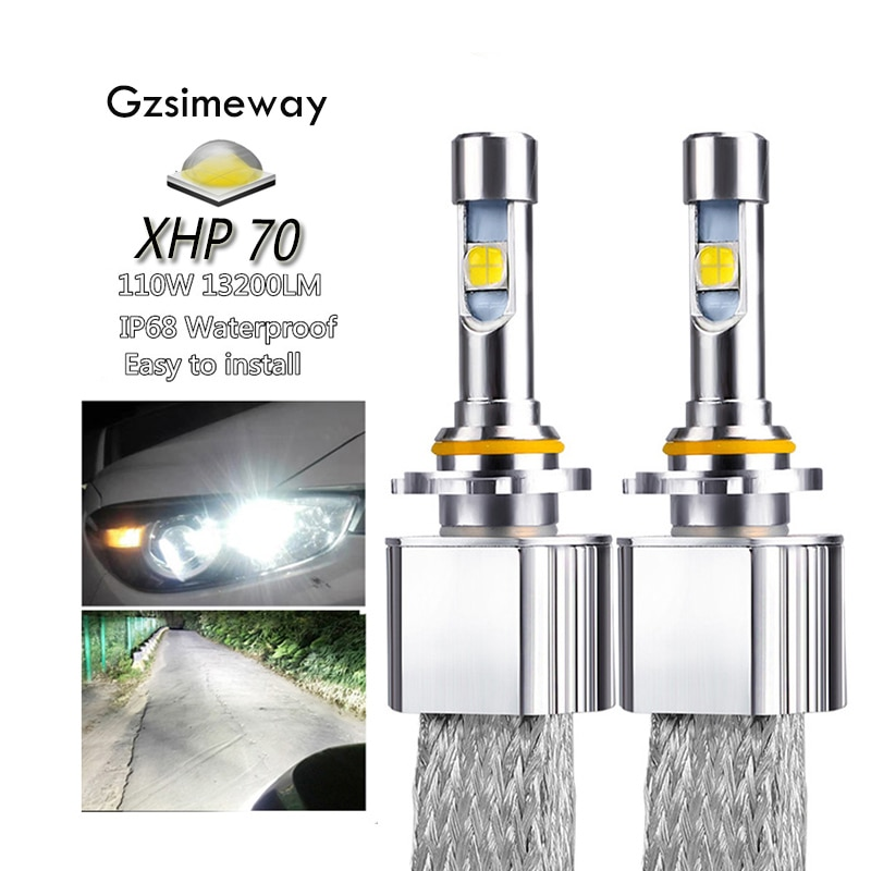 2PCS Auto LED Scheinwerfer H11 Kit H4 H7 H8 H9 H16 9005 HB4 HIR2 xhp70 6000K 110W 13200LM 9004/7 H13 D2H D2S Auto Styling Nebel Lampen