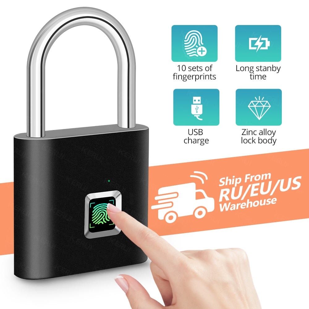 KERUI Fingerprint Lock Smart Padlock Daumenabdruck Türschlösser Portable Anti-Theft Fingerprint Lock für Bag Drawer Suitcase