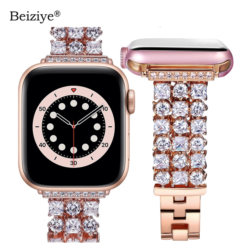 AliExpress - Women Diamond Strap for Apple Watch Band SE 6 5 44mm 40mm Luxury Bling Replacement Bracelet for iWatch Band 38mm 42mm Series 3 2