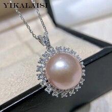 YIKALAISI 925 joyería de plata de ley colgantes de perlas 2019 joyería de perlas naturales finas 12-13mm colgantes para mujeres al por mayor