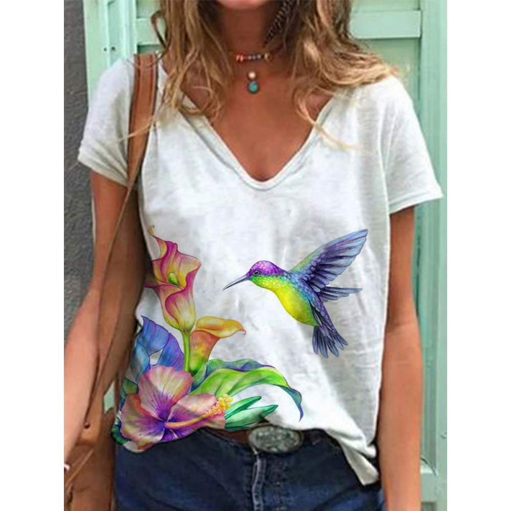 Vintage Woman Tshirts Plus Size Flower Printed Short Sleeve V-Neck 3d Pattern Tops Tee Casual Summer Loose Elegantes Mujer  - buy with discount