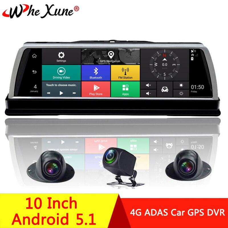 "WHEXUNE 2019 Neue 4 Kanal Android 5.1 WIFI Auto DVR Kamera 4G 10 ""IPS ADAS GPS Navigation Dash Cam volle HD 1080P Video Recorder"