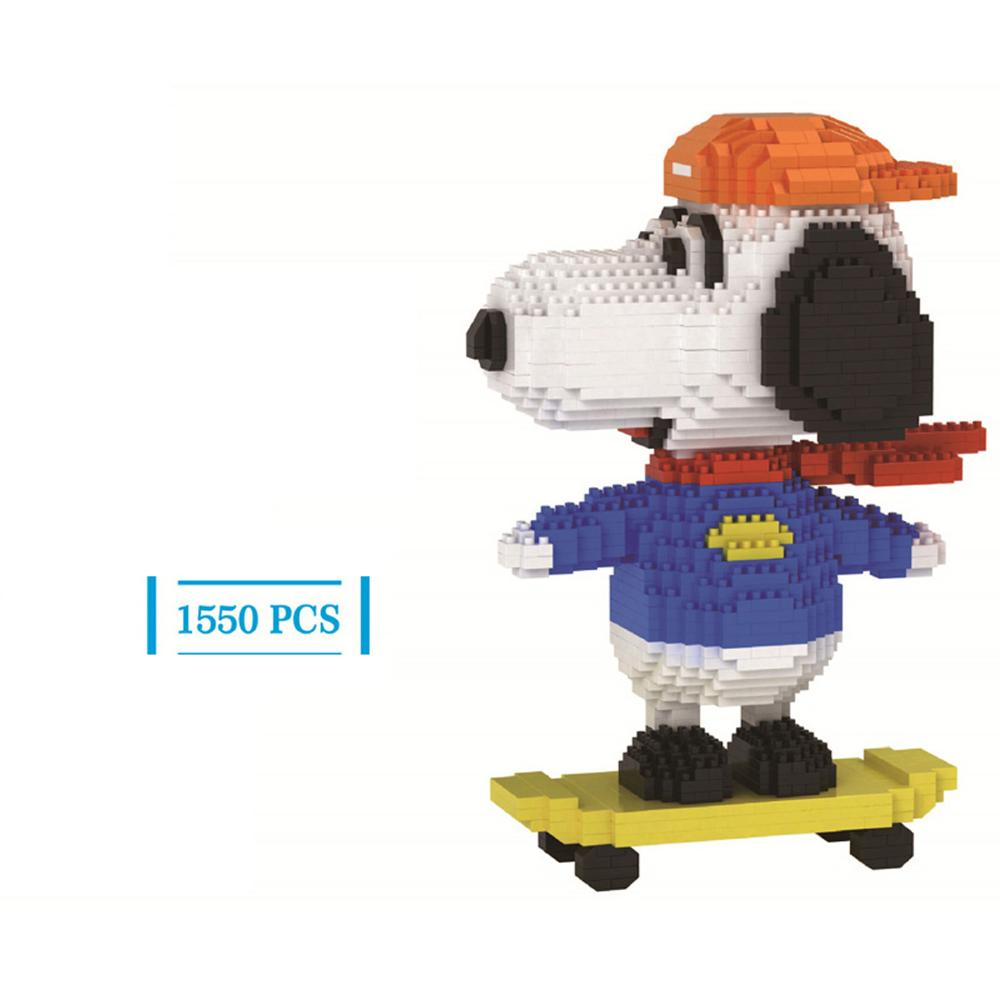 Caliente lepining creadores clásico perro mascota dibujos animados hermosa patinar figura mini micro bloque de construcción de diamante modelo de ladrillo juguetes regalo