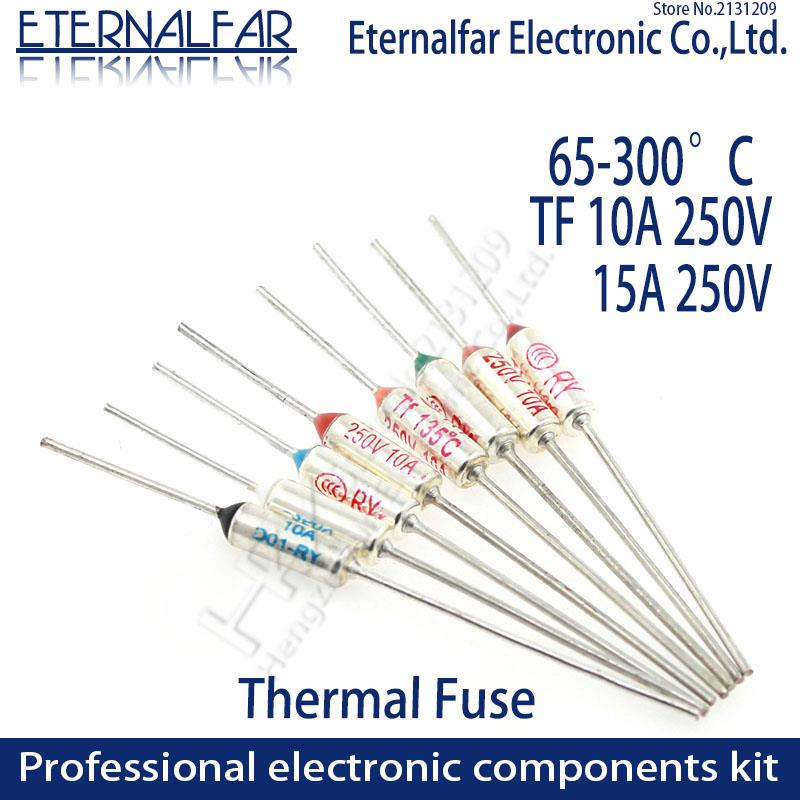 "TF נתיך תרמי ר""י 10A 15A 250V בקרת טמפרטורת התרמוסטט מתג 135 275 280 285 300 C 65C 85C 121C 216C 240C 300C תואר"