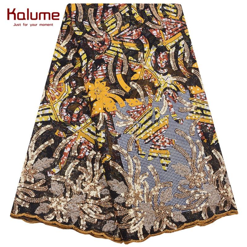 Tela de encaje de lentejuelas africanas Kalume, tela colorida de cera francesa con bordado de lentejuelas, encajes de tul Nigeriano para fiesta de vestir F1984