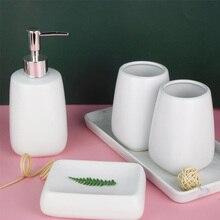 Accessoires de bain en céramique   Ensemble daccessoires de salle de bain nordique pour la maison 4 pièces distributeur de liquide, vaisselle de savon 2 porte-dentifrice