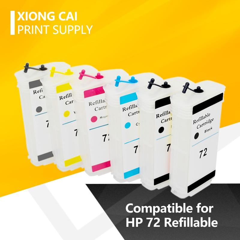 Cartucho de tinta recargable con Chip Compatible con 6 colores HP72 72 para HP DesignJet T610 T770 T790T1100 T1120 T1200 T1300 T2300