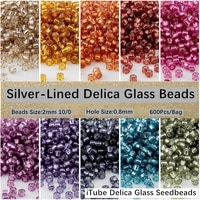 japan delica miyuki bead 100 2mm lined color glass seedbeads for hand craft jewelry embroider art sewing accessories 600pcs