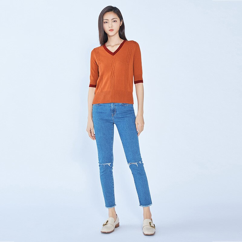Tailor Shop Custom Made All Cashmere V-neck Cashmere Sweater Women Short Thin Sleeve Knitting enlarge