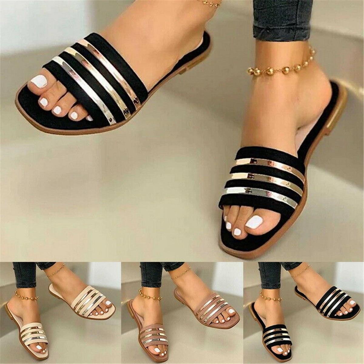 Fashion Lady Summer Open Toe Flat Slip On Sandals Beach Toe Square Shoes Slipper