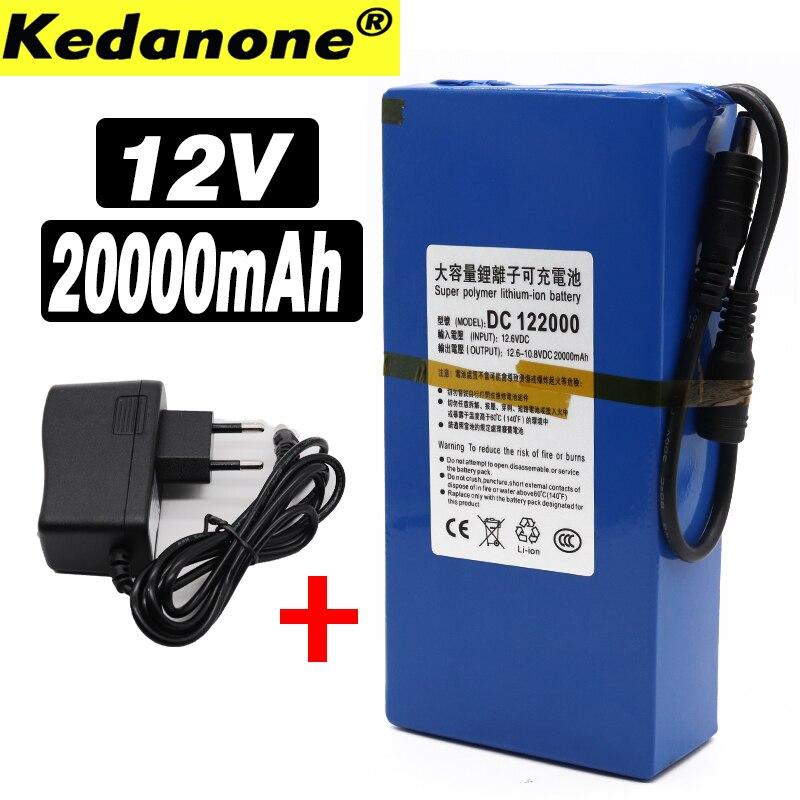 Batería recargable portátil de iones de litio CC, 12V, 20000mAh, con enchufe europeo, batería + cargador de 12,6 v y 20Ah, nueva y de alta calidad