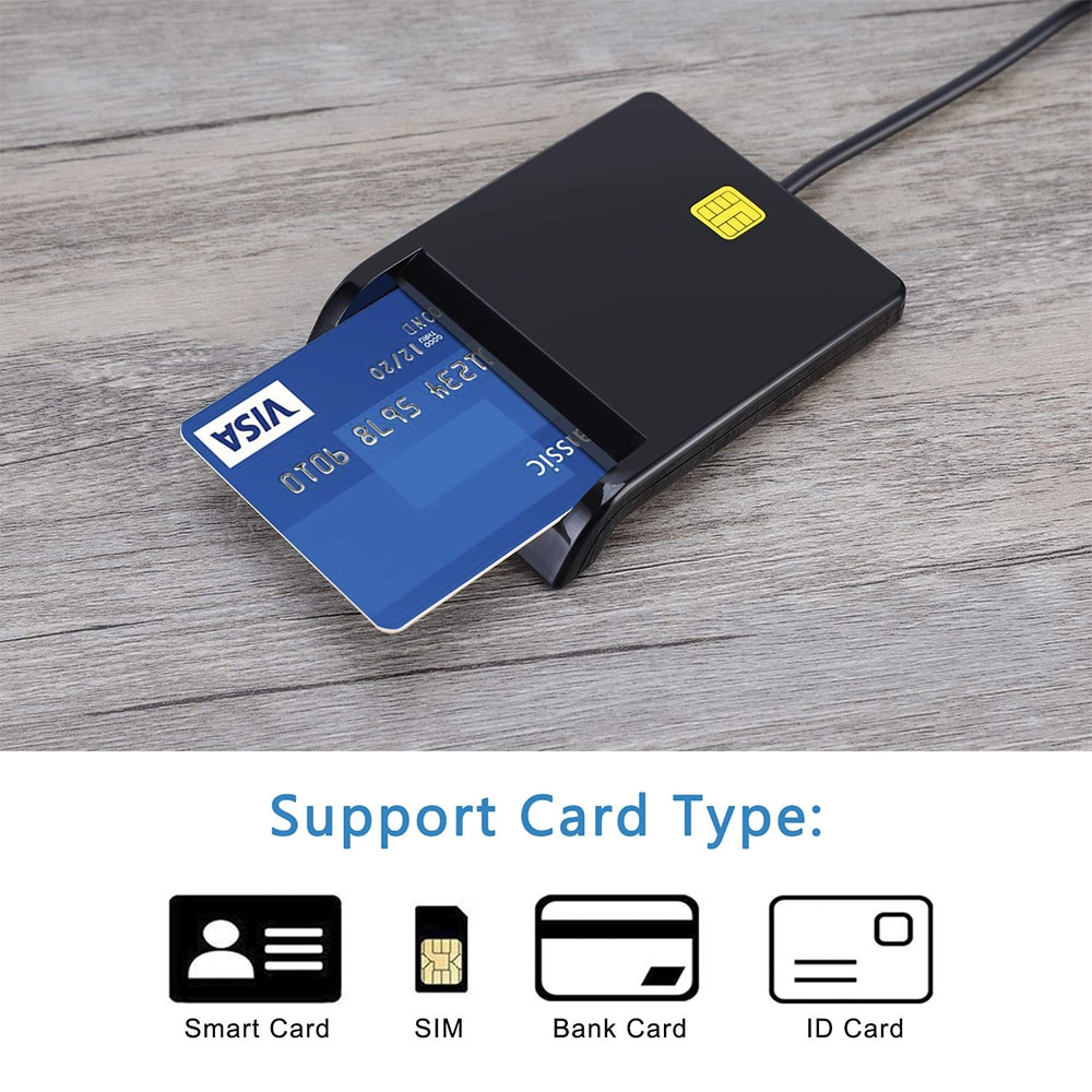 Card Reader Portable USB 2.0 Smart Card Reader DNIE ATM CAC IC ID Bank Card SIM Card Cloner Connector for Windows Linux