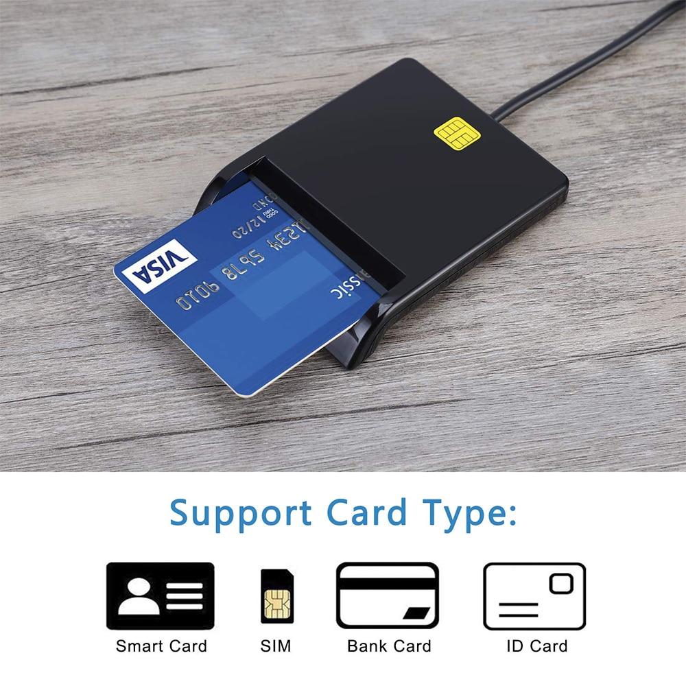 Card Reader Portable USB 2.0 Smart Card Reader DNIE ATM CAC IC ID Bank Card SIM Card Cloner Connector for Windows Linux