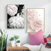nordic posters wall art canvas painting white flower peony rose print home minimalism bedroom decoration kid bedroom living room