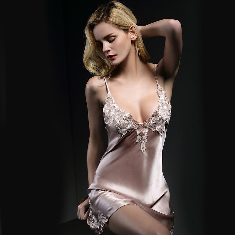Women 100% Mulberry Silk Nightdress Women 2020 New Sexy  Female Summer Lace Silk Sleeping Dress Nighty Pink BlueNightgown
