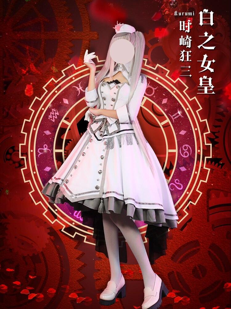 2020 حار أنيمي تاريخ يعيش Tokisaki Kurumi ملكة الأبيض نوبل تأثيري فستان مُصمم حسب الطلب جميل موحدة حفلة عيد الميلاد البدلة