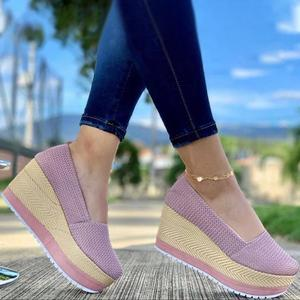 New Female Flat Shoes Summer Vulcanized Shoes Solid Thick Bottom Women's Sandals Fashion Casual Woven Style Women Shoes