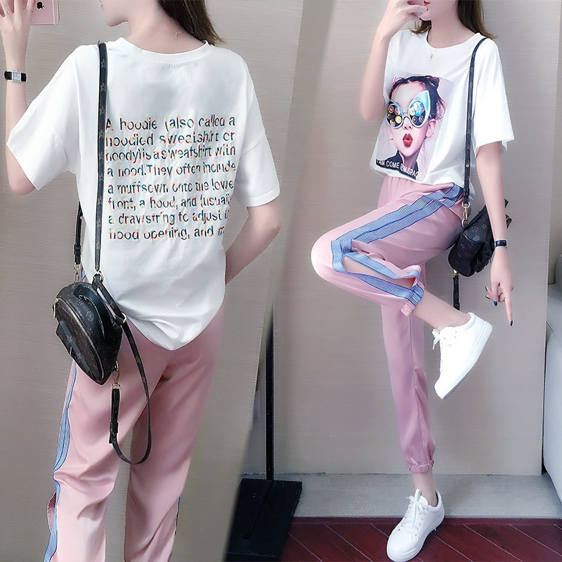 Summer New Casual T-shirt Nine-point Pants Two Piece Set Women Clothes Kpop Loose Fashion Sweet Style Girls Set Trend Streetwear