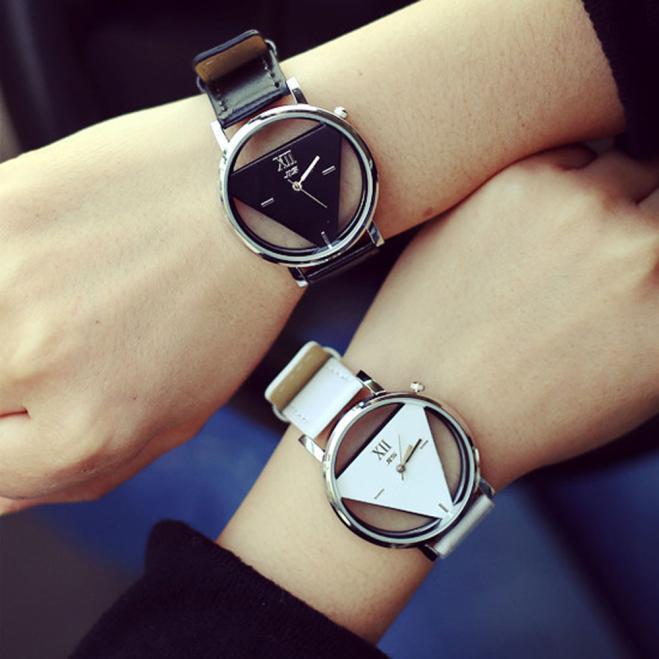 Women Men Watch Unique Hollowed-out Triangular Dial Fashion Watch часы для женщин Lover