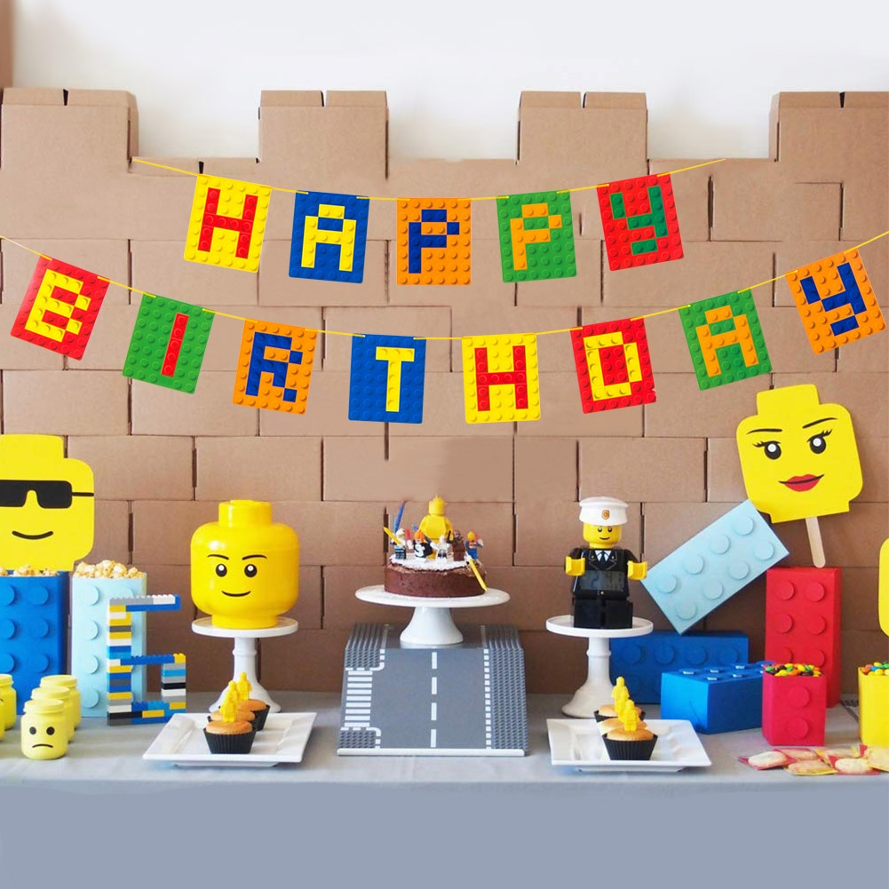 Building Brick Theme Happy Birthday Banner Colorful Bunting Garland Build Blocks Party Decorations Boy Kids Baby Shower Supply