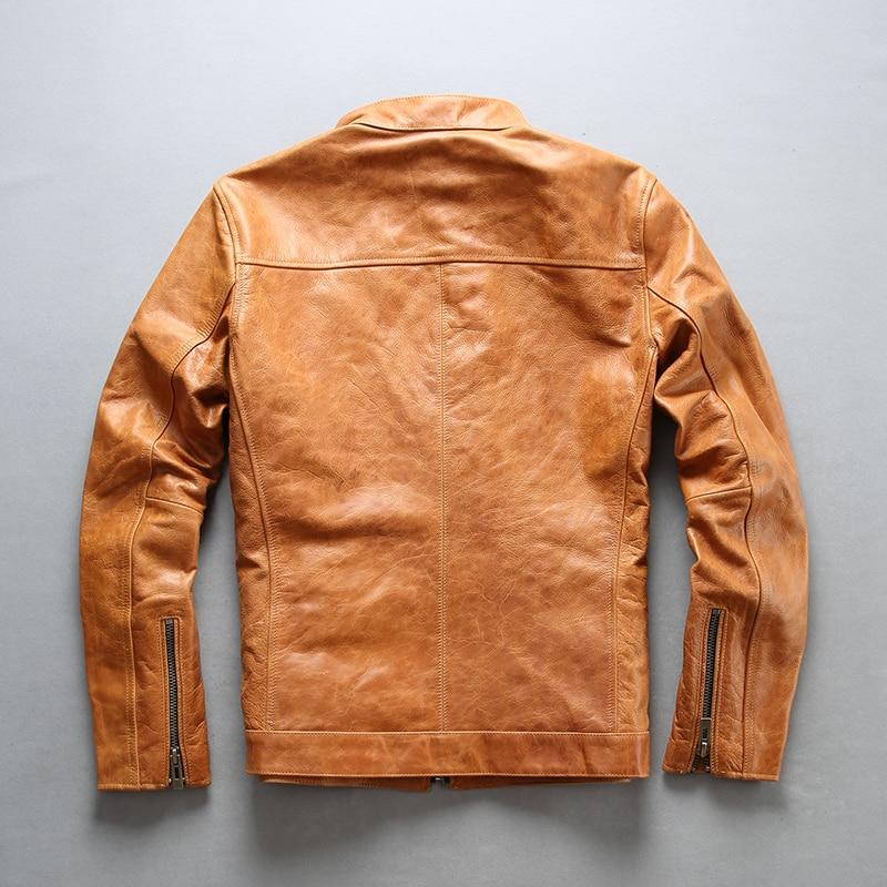 Fly-جاكيت جلد طبيعي Avirex للرجال ، جاكيت أصفر من جلد البقر مع جيوب بسحاب ، معاطف جلدية مناسبة للرجال