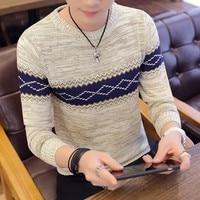 Корейский серый свитер и пуловер, мужской вязаный свитер с длинным рукавом, высококачественные зимние пуловеры для мужчин, теплое темно-син...