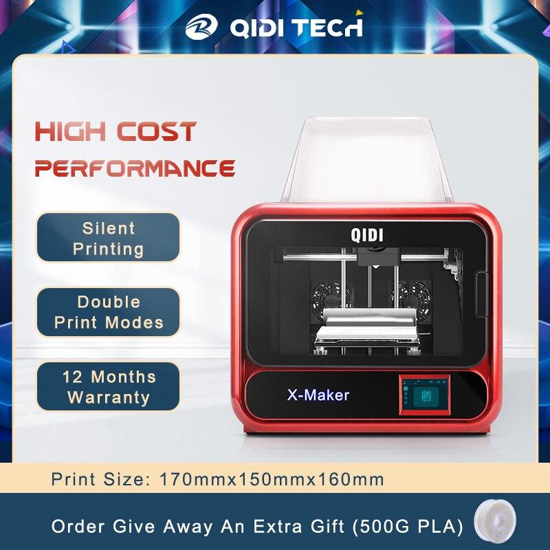 QIDI TECH-طابعة X-maker ثلاثية الأبعاد ، مجموعة طباعة ثلاثية الأبعاد ، آلة طباعة ثلاثية الأبعاد بشاشة تعمل باللمس مع منصة تسخين