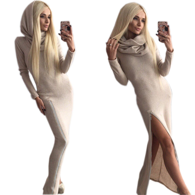 Mulheres maxi vestido longo gola irregular com capuz outono vestidos de inverno casual dividir zíper bodycon vestidos sólidos robe femme gv353