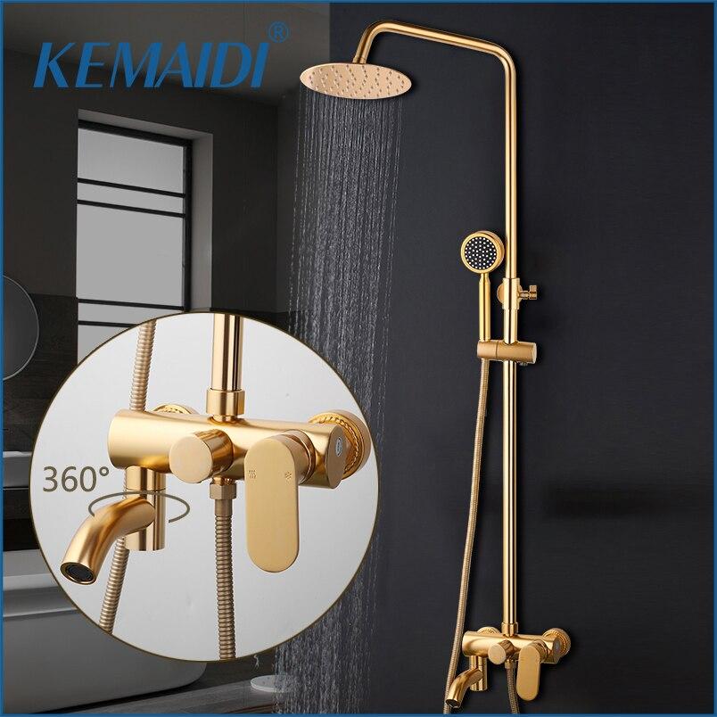 KEMAIDI luxe or brossé robinet de douche ensemble montage mural 10