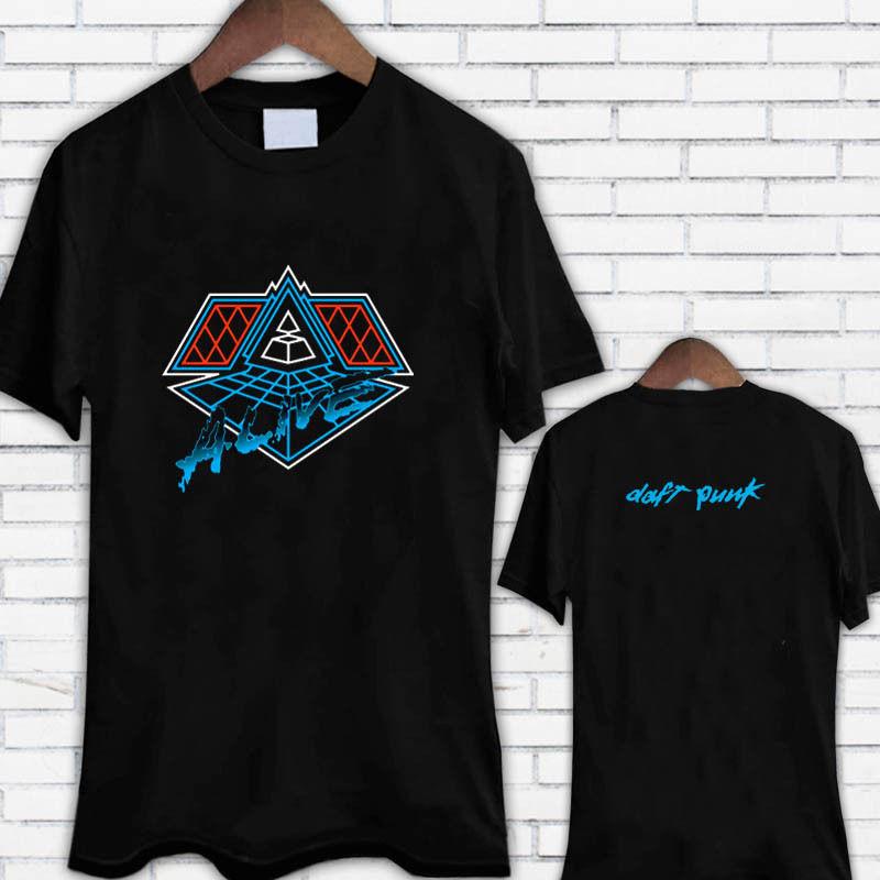 Daft Punk vivo música Electro Tee negro camiseta T camisa Casual de marca ropa de algodón de verano de algodón de manga corta