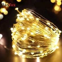 1 M/2 M/3 M/5 M/10 M LED Light String Zilveren Draad Fairy warm Wit Garland Home Wedding Party Kerst Decoratie Batterij Aangedreven