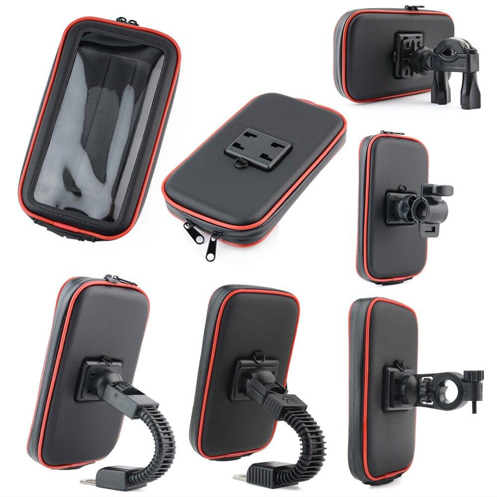 Universal bicicleta motocicleta soporte impermeable bolsa manillar montaje teléfono soporte 360 giratorio para teléfonos GPS 5,5-6,3 pulgadas