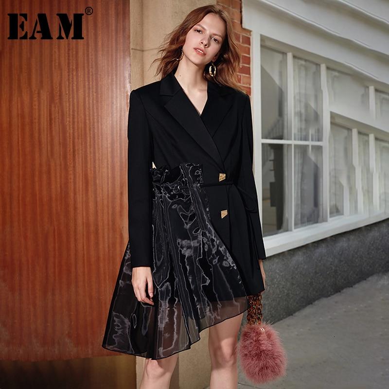 [EAM] Blazer asimétrico de Organza negra para mujer, solapa nueva, chaqueta holgada de manga larga, moda Primavera otoño 2020 1K895