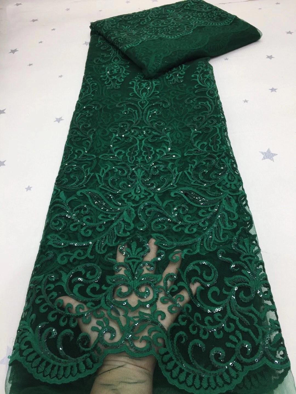 قماش دانتيل أفريقي أخضر عالي الجودة 2020 ، دانتيل حرير فرنسي بالترتر ، فستان حفلات نيجيري LDP20112