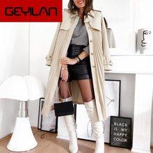 Elegant pleated women trench autumn winter Casual single-breasted belt female long wind coat  Office