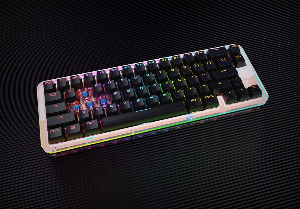 65% Custom Mechanical Keyboard Kit PCB CASE hot swappable switch support lighting effects with RGB switch led enlarge
