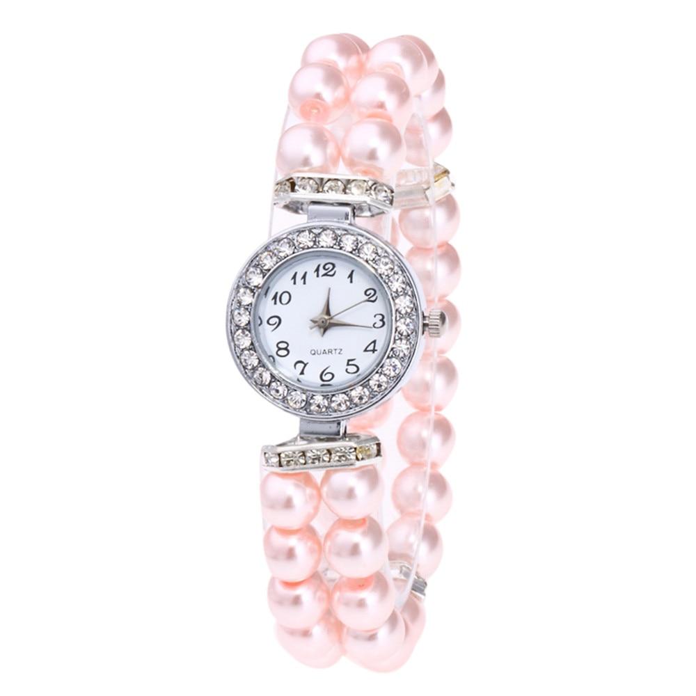 Las mujeres reloj de cadena de perlas relojes pulsera de las señoras de las mujeres de moda de cuarzo mujer reloj de pulsera de las mujeres mujer reloj relogio