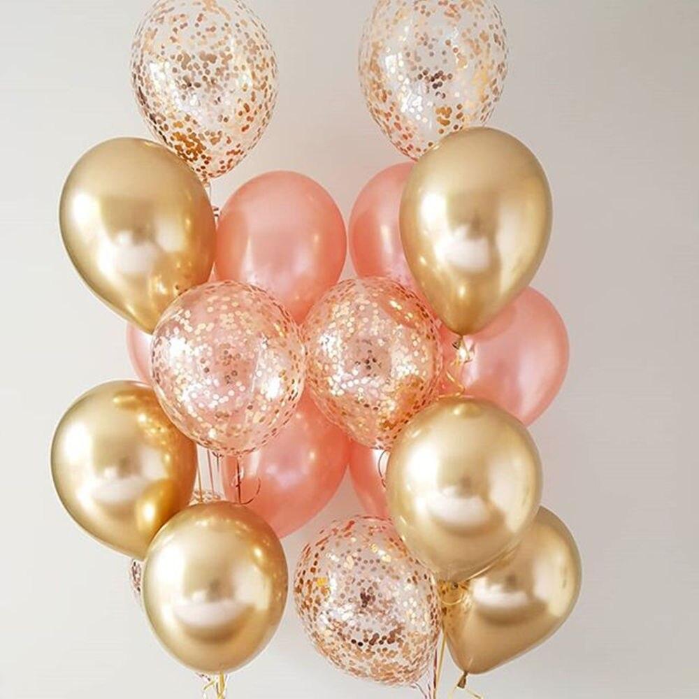 18 stücke Metall Chrom Gold Silber Latex Ballons Rose Goldene Transparent Konfetti Ballon Party Decor Hochzeit Geburtstag Luftballons